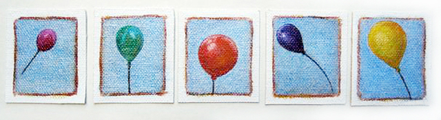 Five of my fifty balloon paintings.
